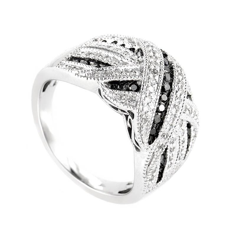 10K White Gold Black & White Diamond