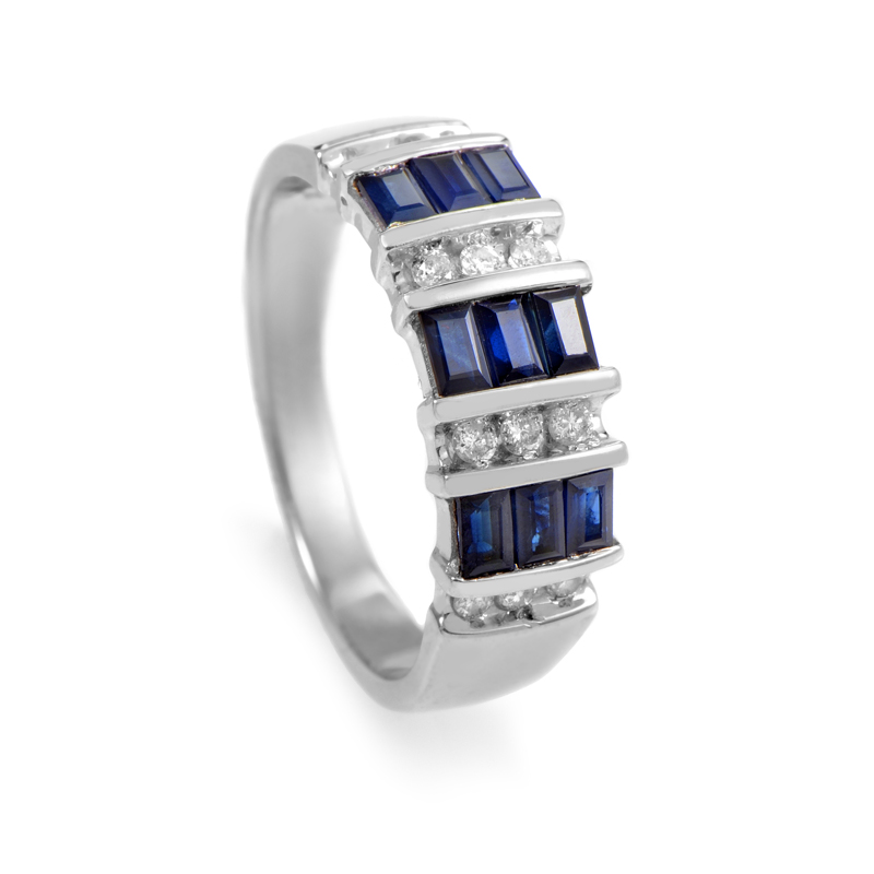 14K White Gold Sapphire & Diamond Band Ring 21450564