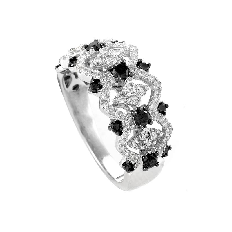 Women's 10K White Gold Multi-Diamond Band Ring 23060700
