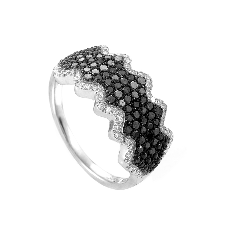 10K White Gold Mulit-Diamond Pave Wave Band 23122702