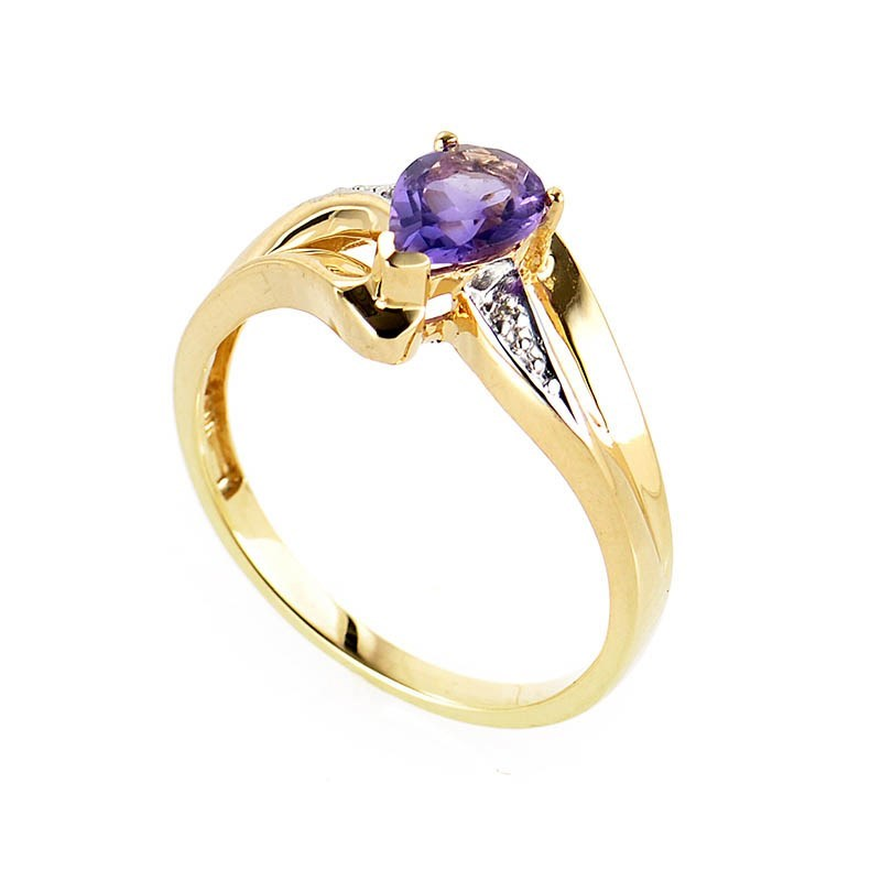 10K Yellow Gold Amethyst & Diamond Ring LA1-01161