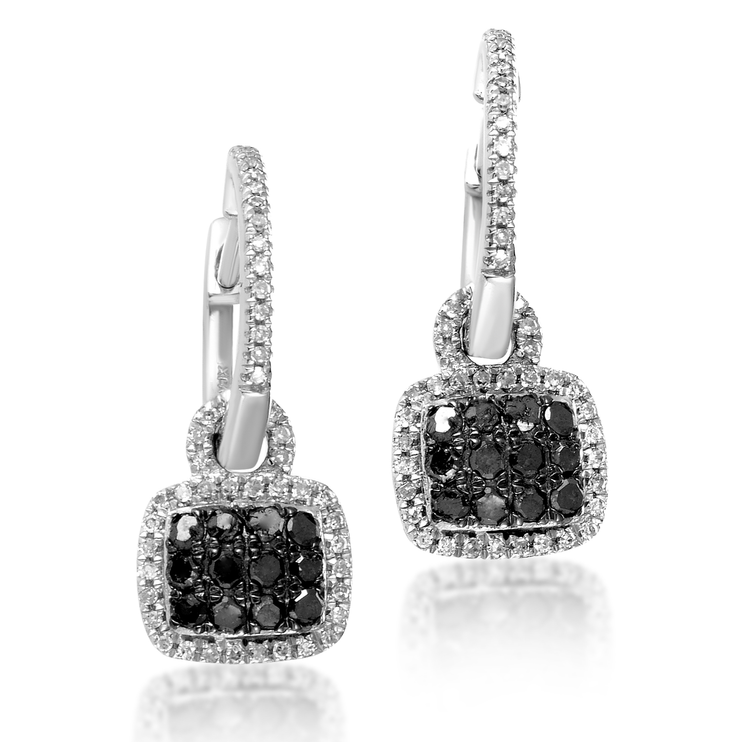 Women's 10K White Gold Black & White Diamond Pave Dangle Earrings AER-11369W
