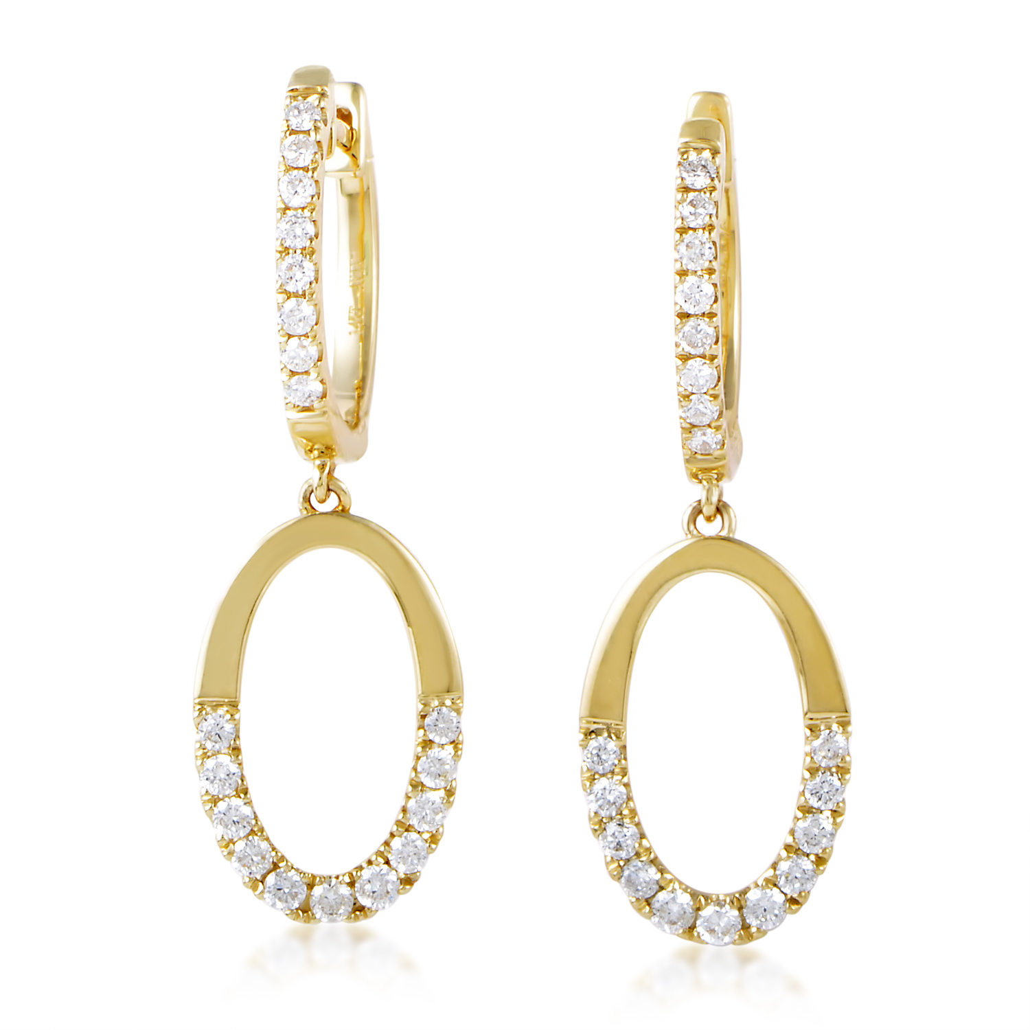Women's 14K Yellow Gold Partial Diamond Pave Loop Earrings AER-11557Y14K