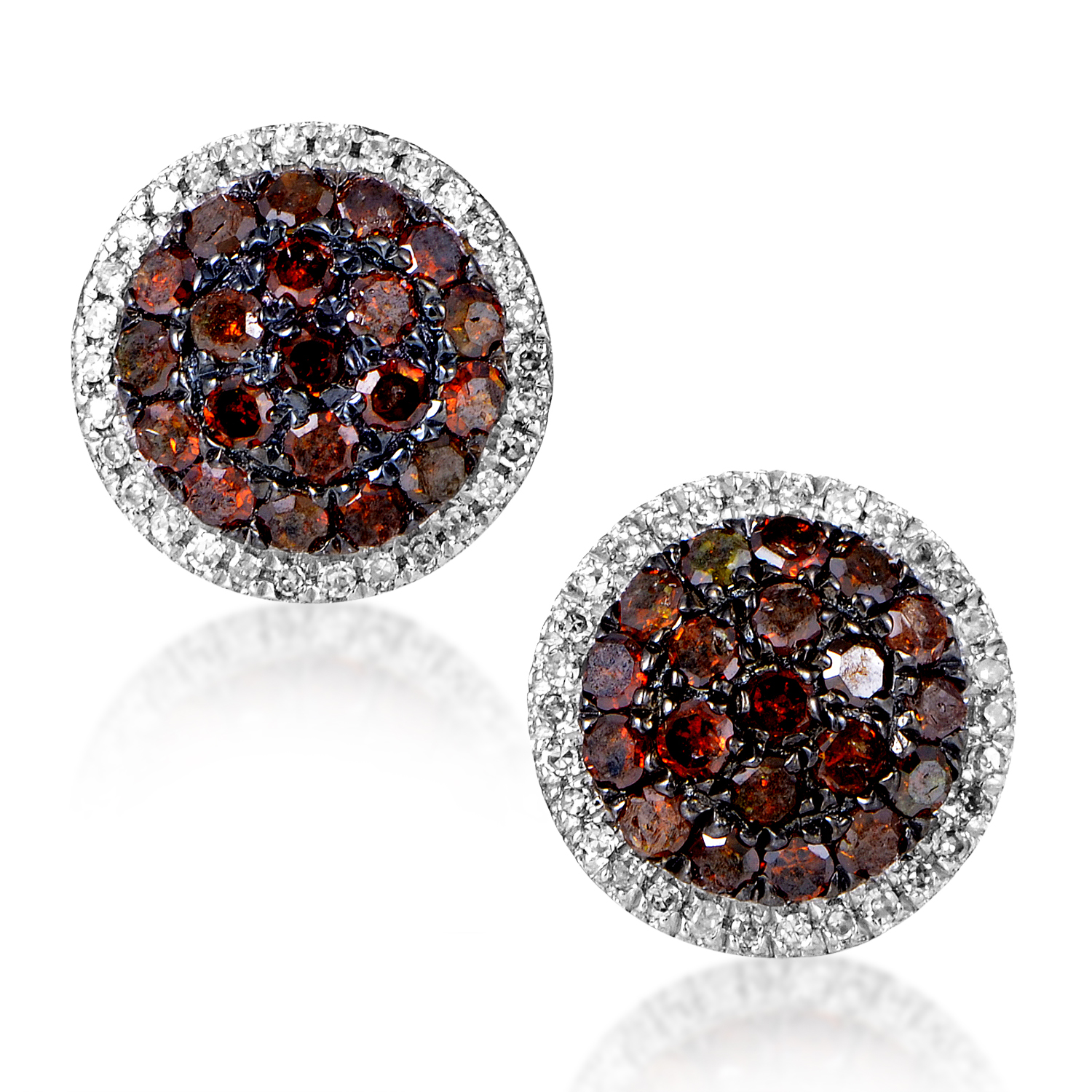 Women's 10K Yellow Gold Brown & White Diamond Pave Stud Earrings AER-12010Y