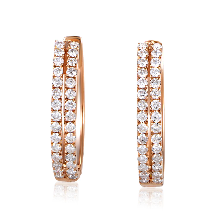 Women's 14K Rose Gold Diamond Pave Hoop Earrings AER-12696R