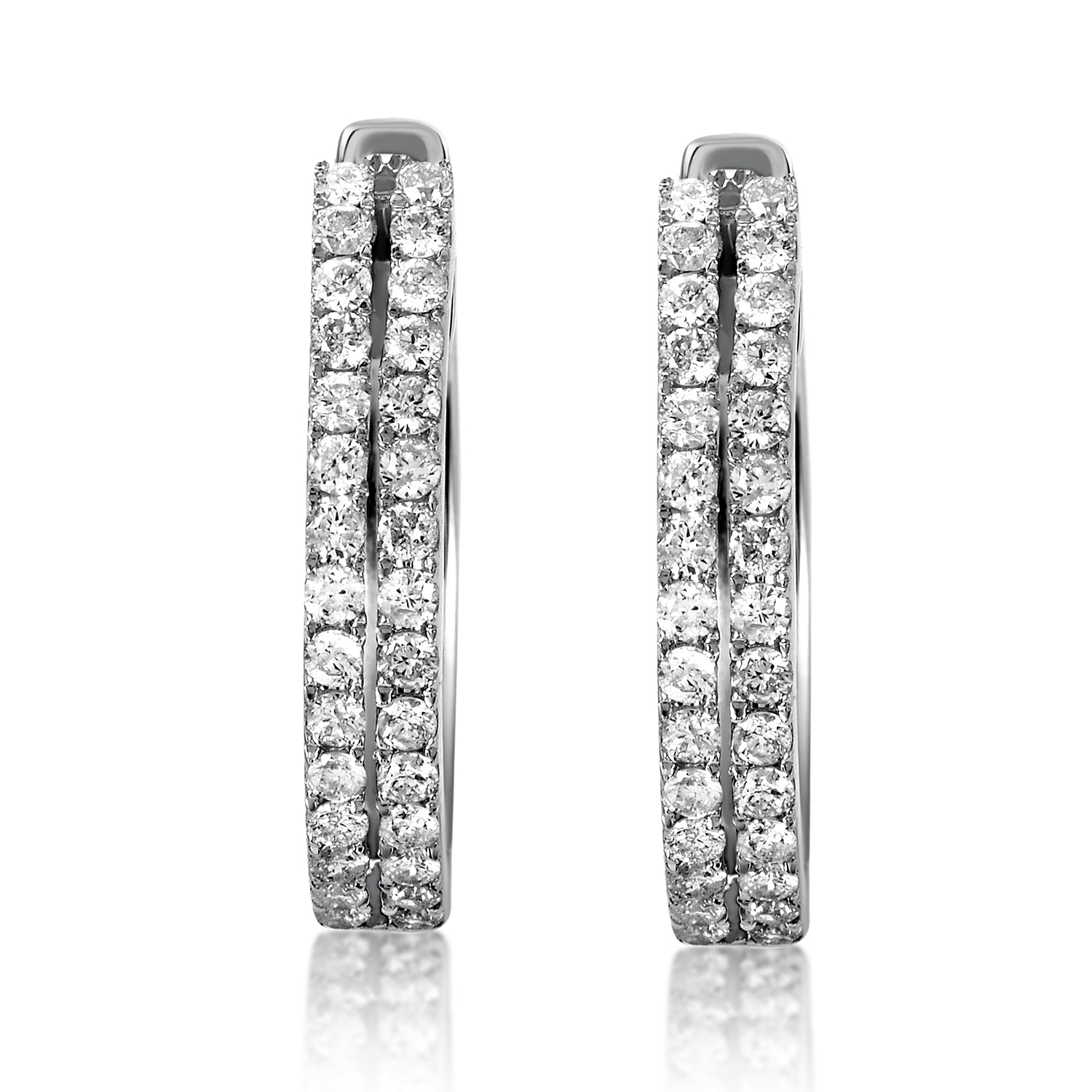 Women's 14K White Gold Diamond Hoop Earrings AER-12696W