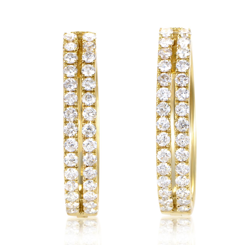 Women's 14K Yellow Gold Diamond Pave Hoop Earrings AER-12696Y