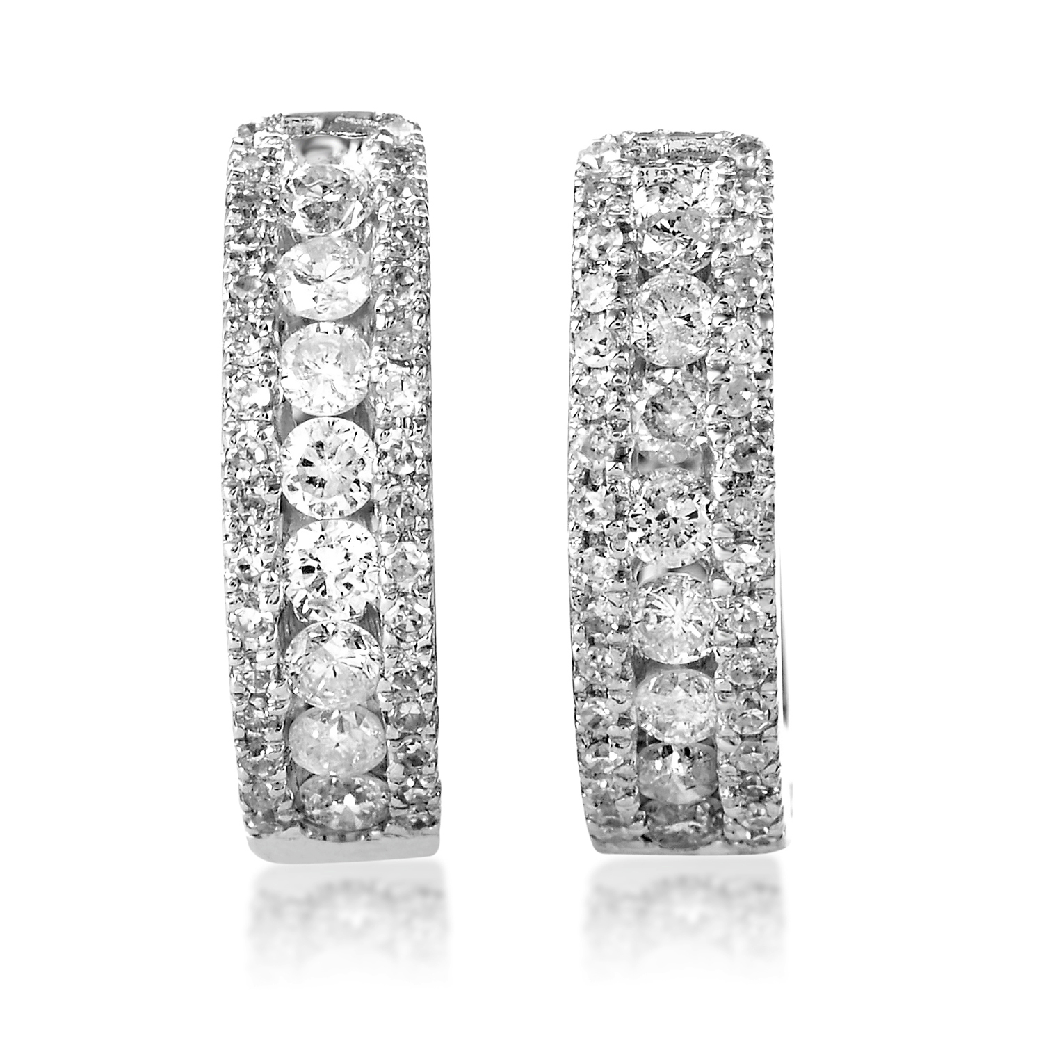 Women's 14K White Gold Diamond Hoop Earrings AER-5938W