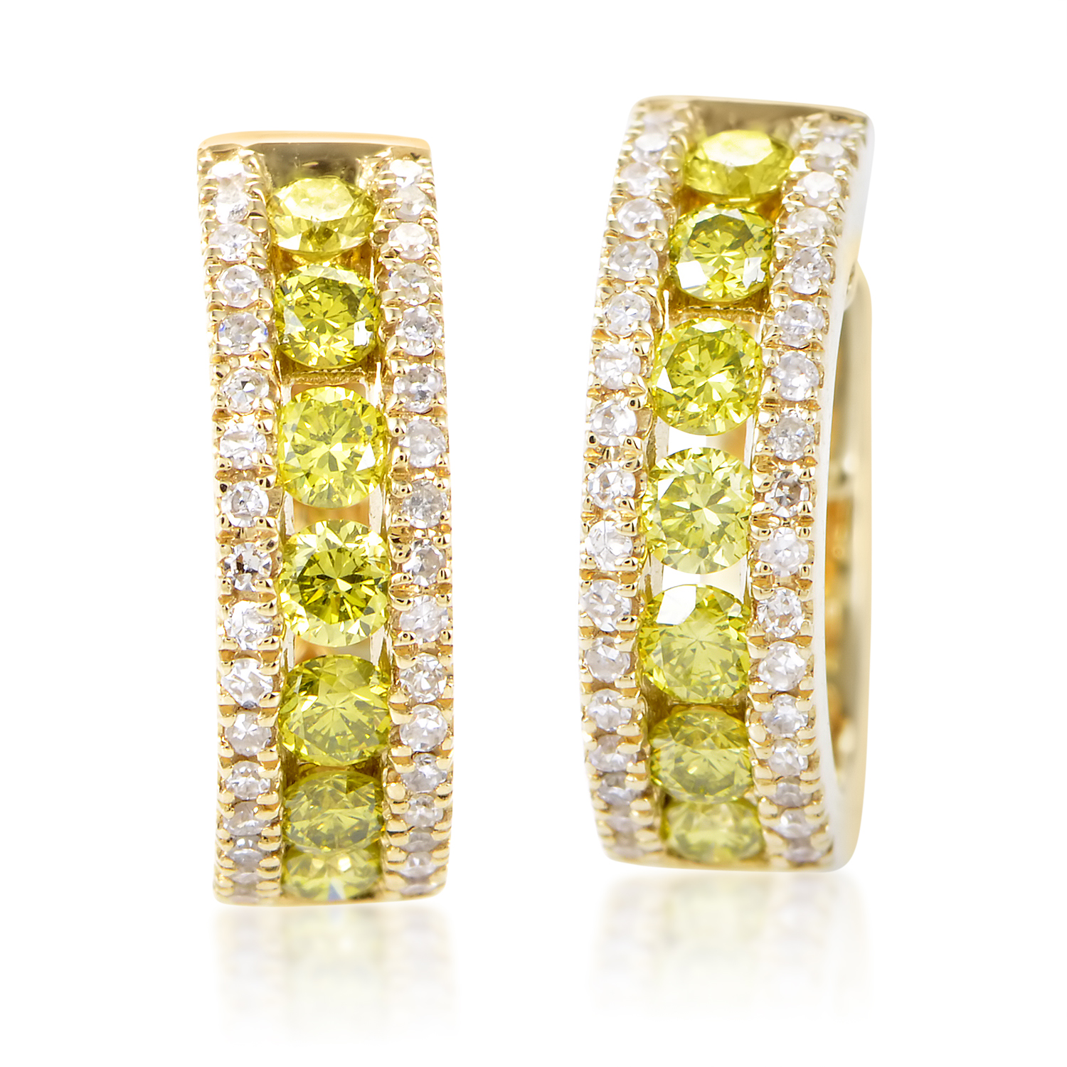 Women's 14K Yellow Gold White & Yellow Diamond Hoop Earrings AER-5938Y