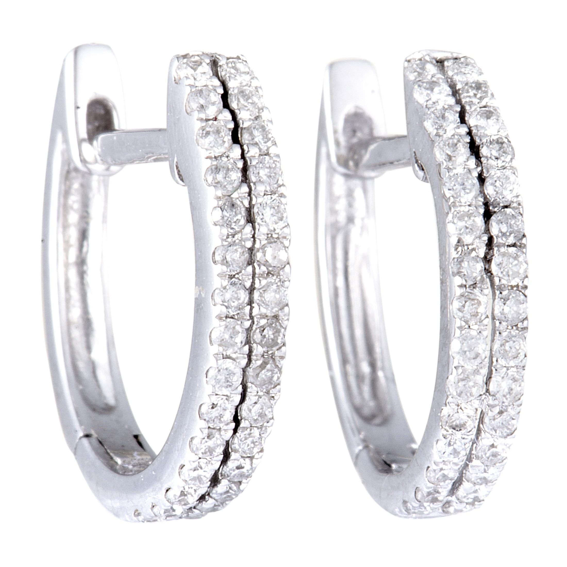 Women's 14K White Gold Two-Row Diamond Hoop Earrings AER-9838W