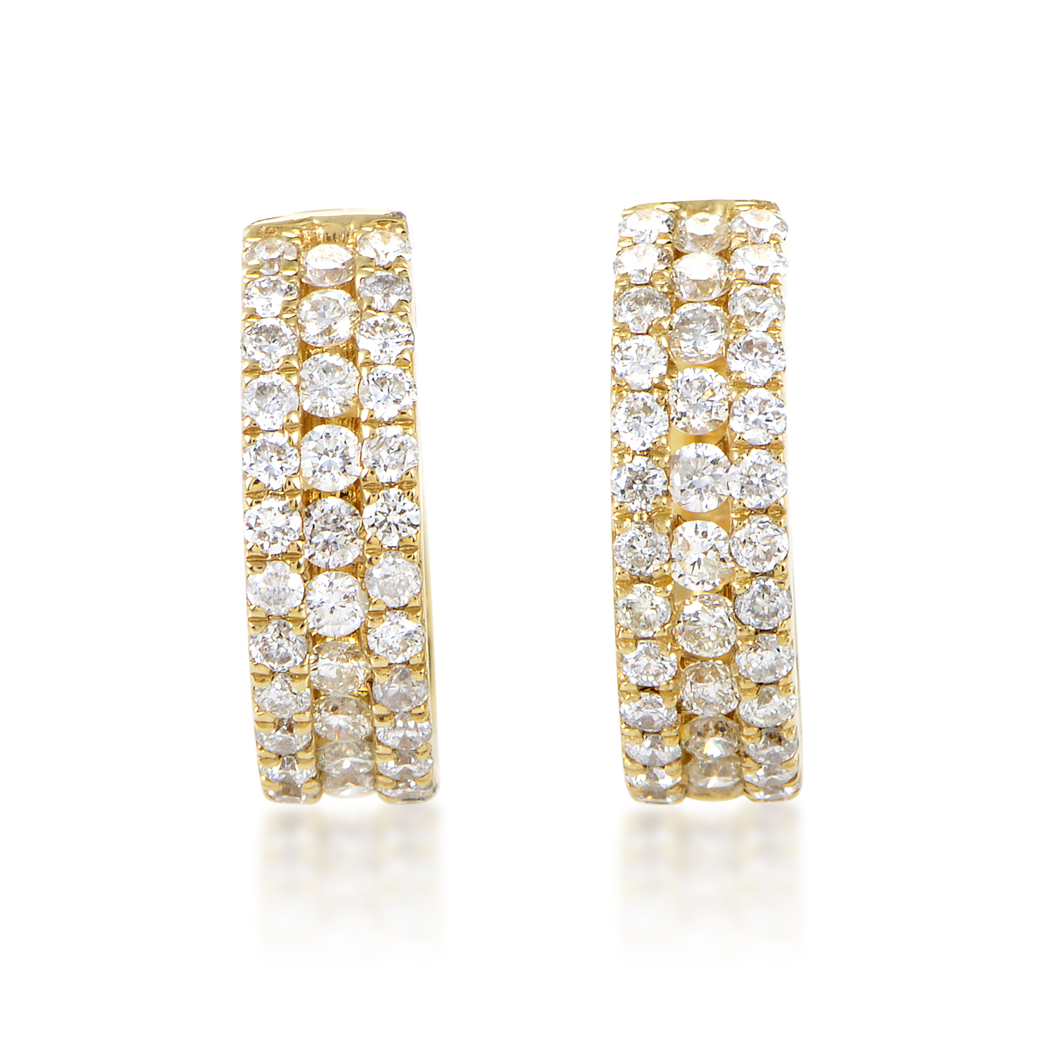 Women's 14K Yellow Gold Diamond Pave Hoop Earrings AER-9840Y