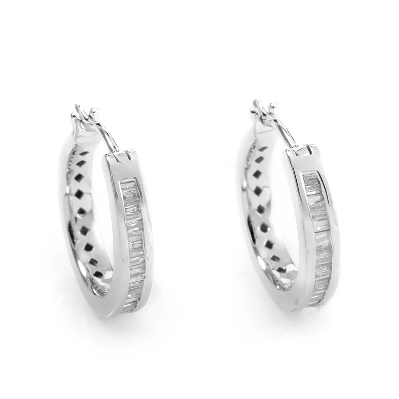 Petite 14K White Gold Diamond Baguette Hoop Earrings AER-10215W