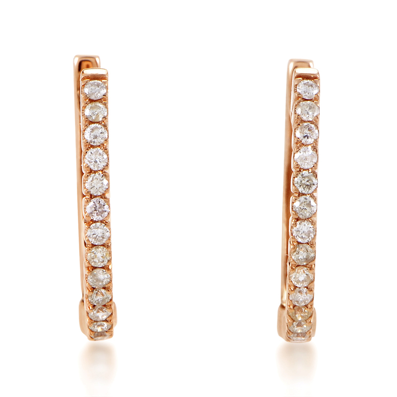 14K Rose Gold Diamond Hoop Earrings AER-10707R