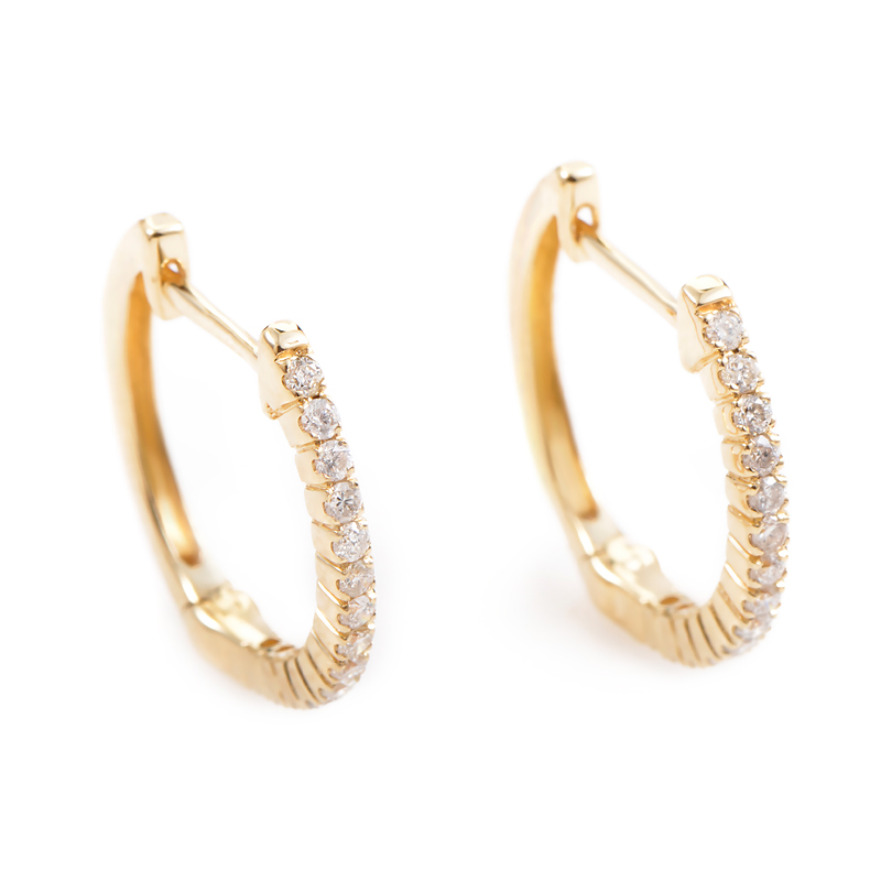 14K Yellow Gold Diamond Hoop Earrings AER-10707Y