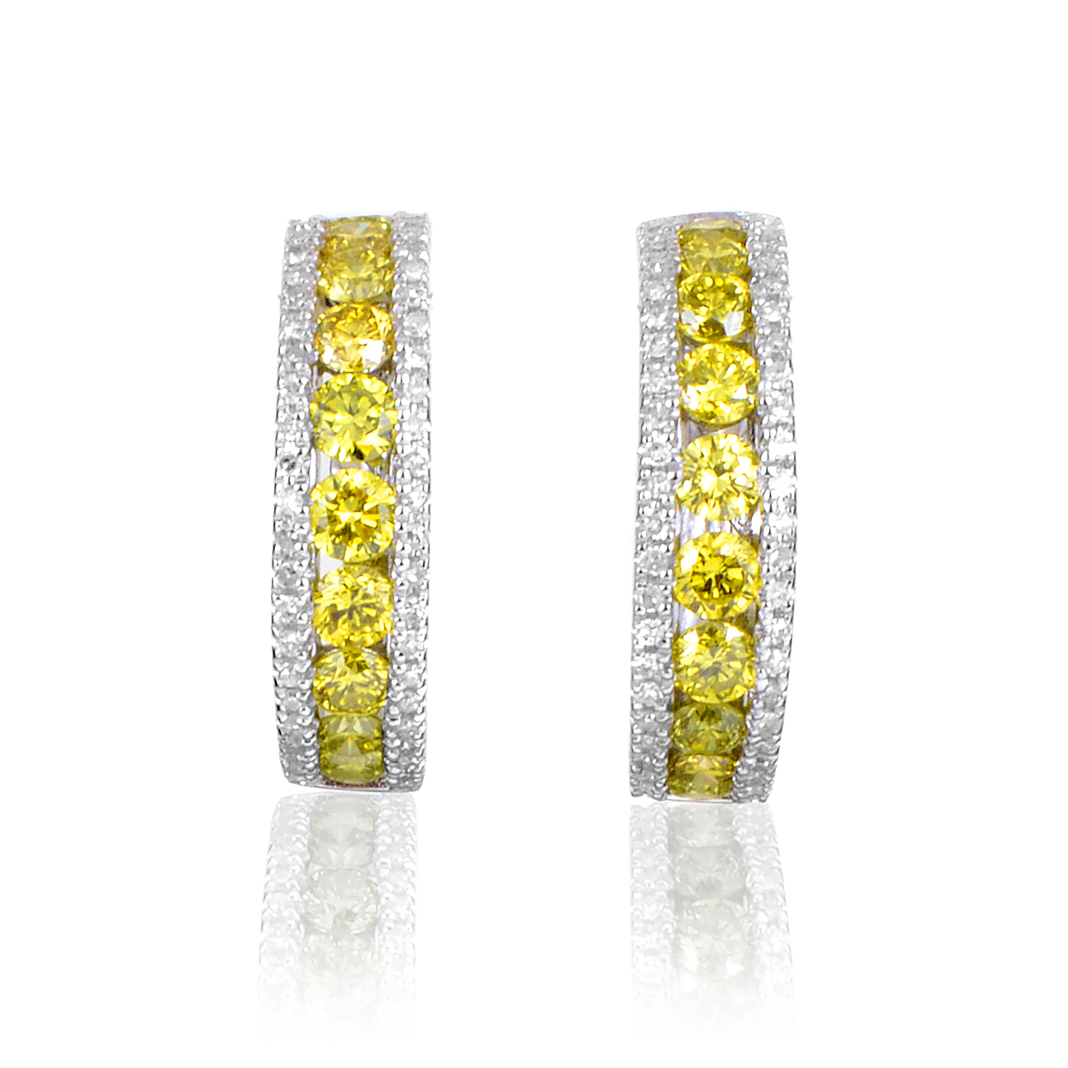 Women's 14K White Gold Yellow & White Diamond Hoop Earrings AER-12568W