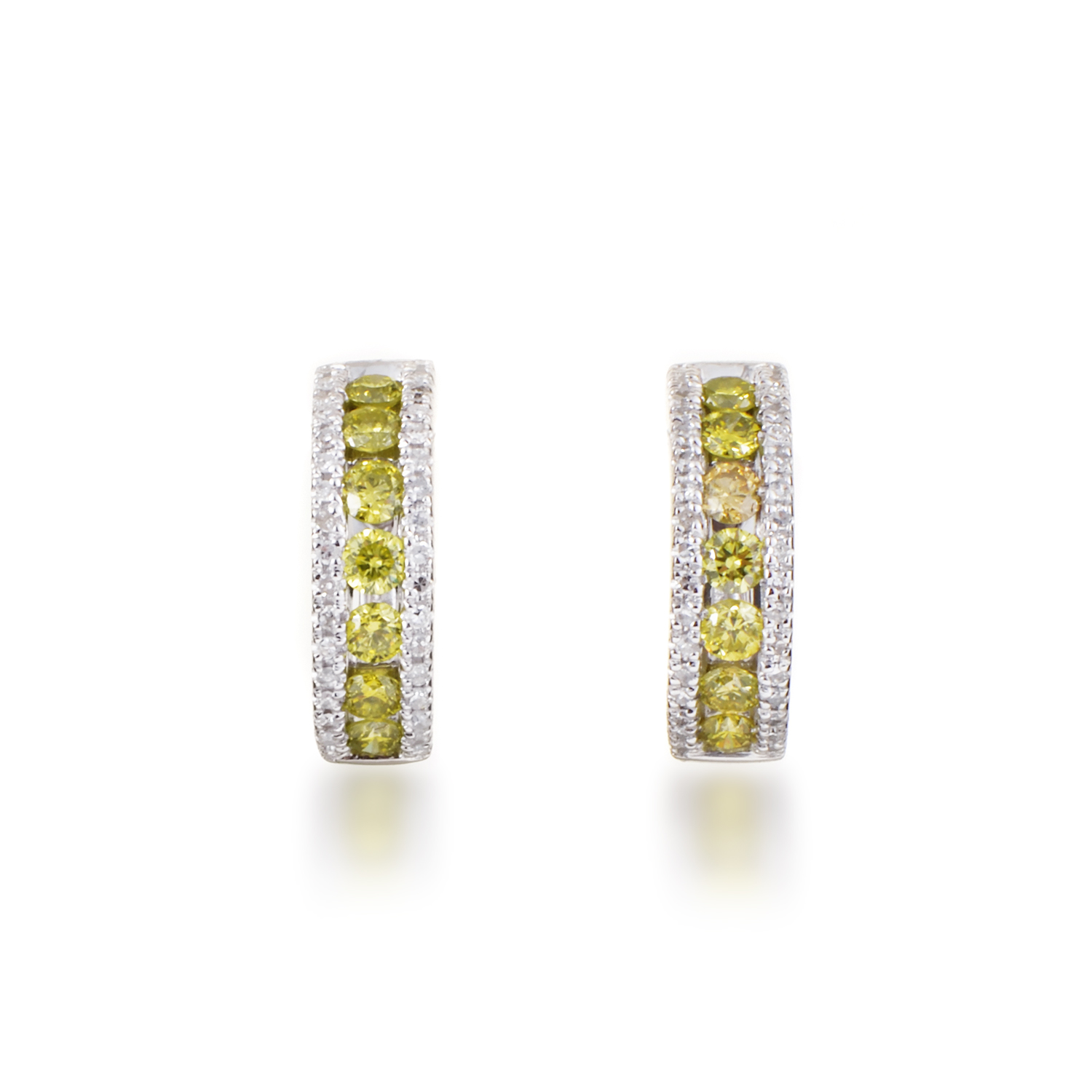 Women's 14K White Gold Yellow & White Diamond Hoop Earrings AER-12569W
