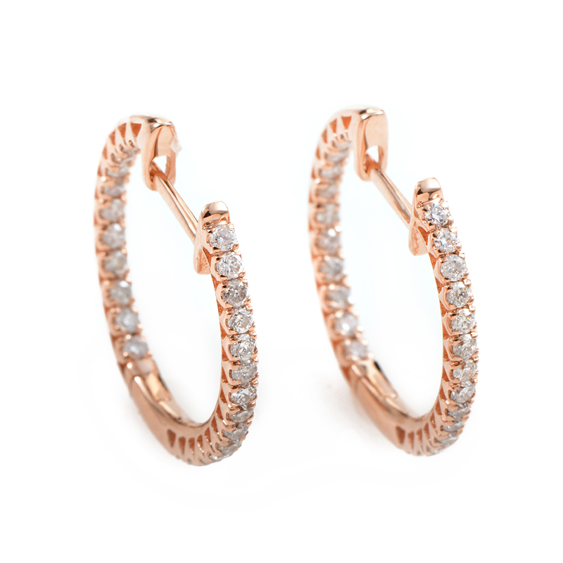 14K Rose Gold Diamond Hoop Earrings AER-4782R