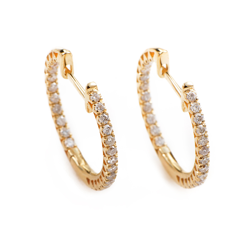 14K Yellow Gold Diamond Hoop Earrings AER-4782Y