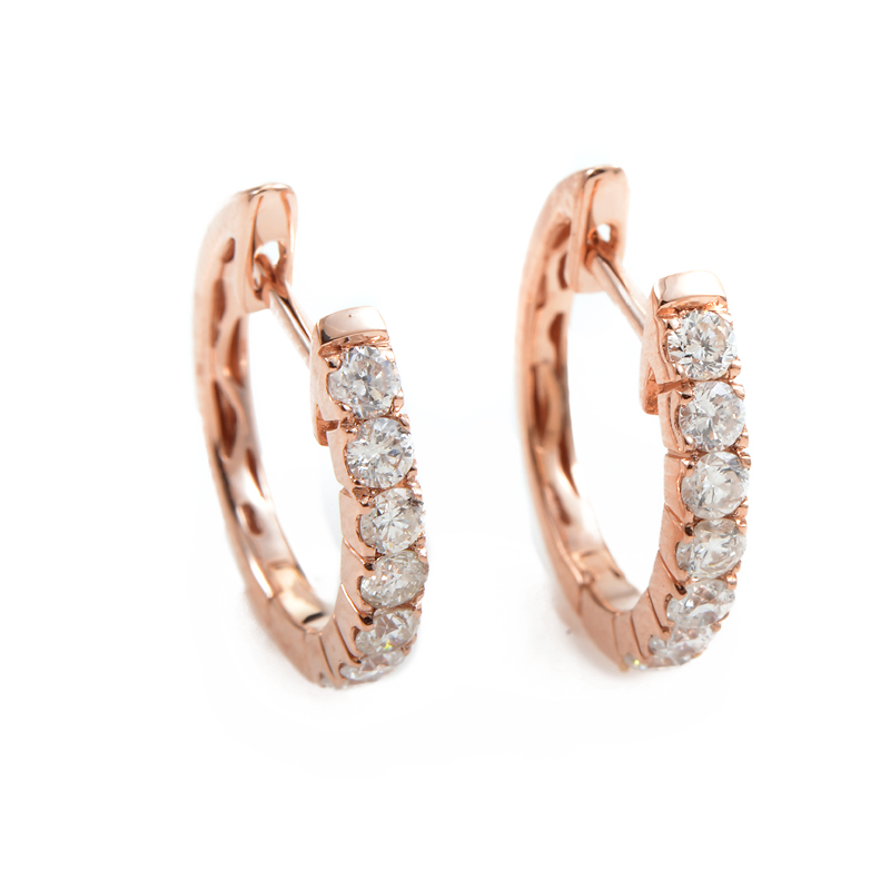 14K Rose Gold Diamond Hoop Earrings AER-4846R