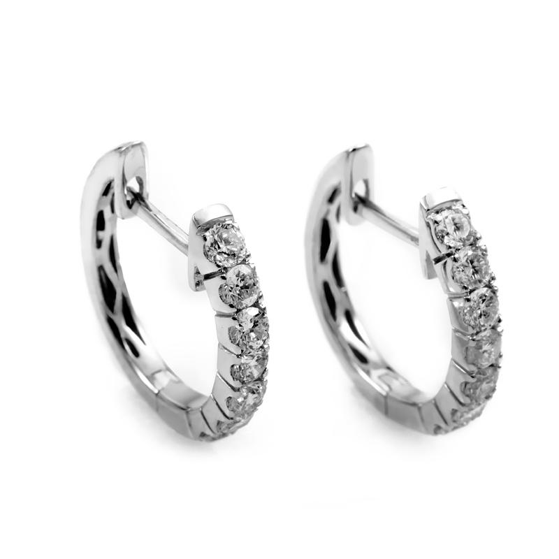 14K White Gold Diamond Hoop Earrings AER-4846W