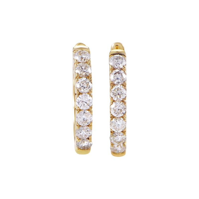 14K Yellow Gold Diamond Hoop Earrings AER-4846Y