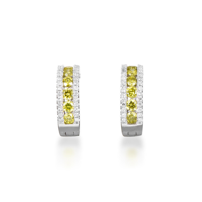 Women's 14K White Gold Yellow & White Diamond Hoop Earrings AER-5938W