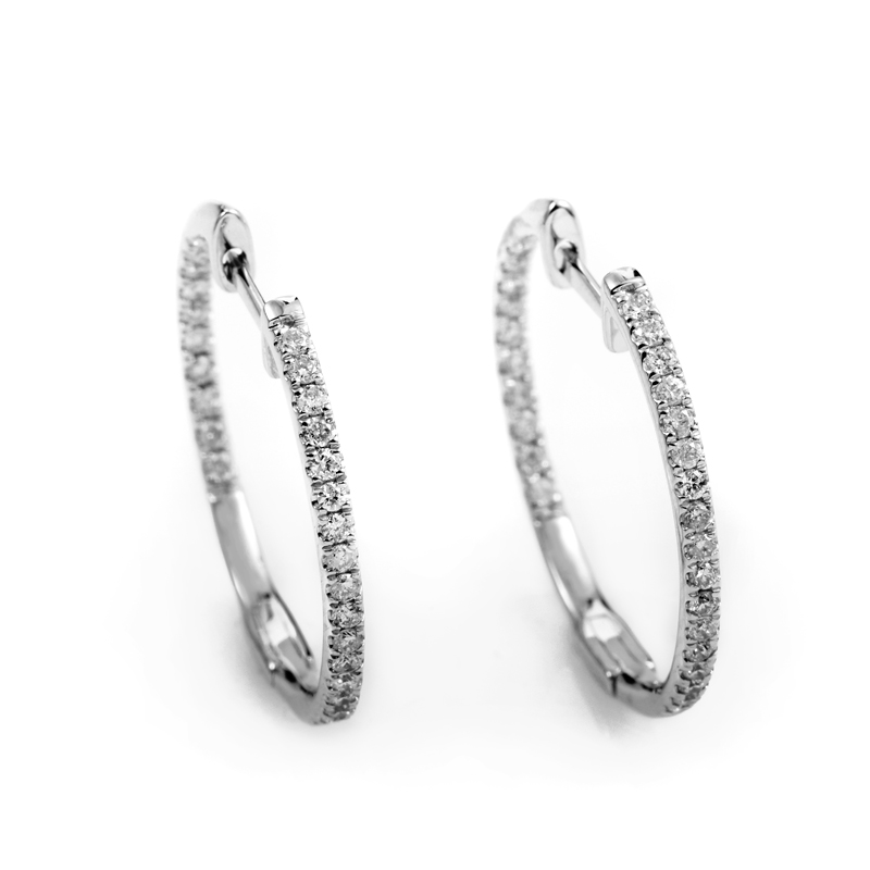14K White Gold Diamond Hoop Earrings AER-7555W