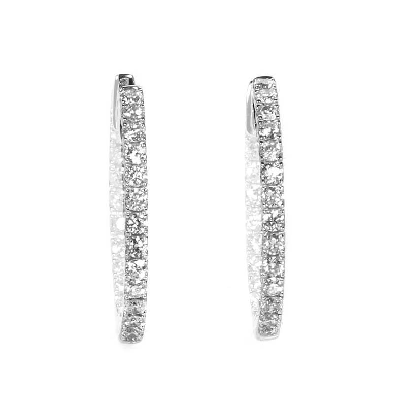 Women's 14K White Gold Diamond Pave Hoop Earrings AER-9829W