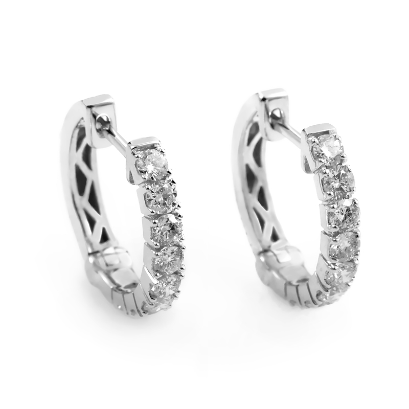 14K White Gold Diamond Hoop Earrings AER-9831W