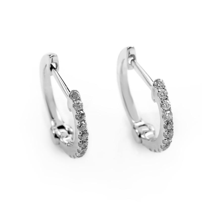 14K White Gold Diamond Hoop Earrings AER-9834W
