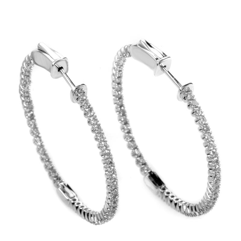 14K White Gold Diamond Hoop Earrings AER-9835W