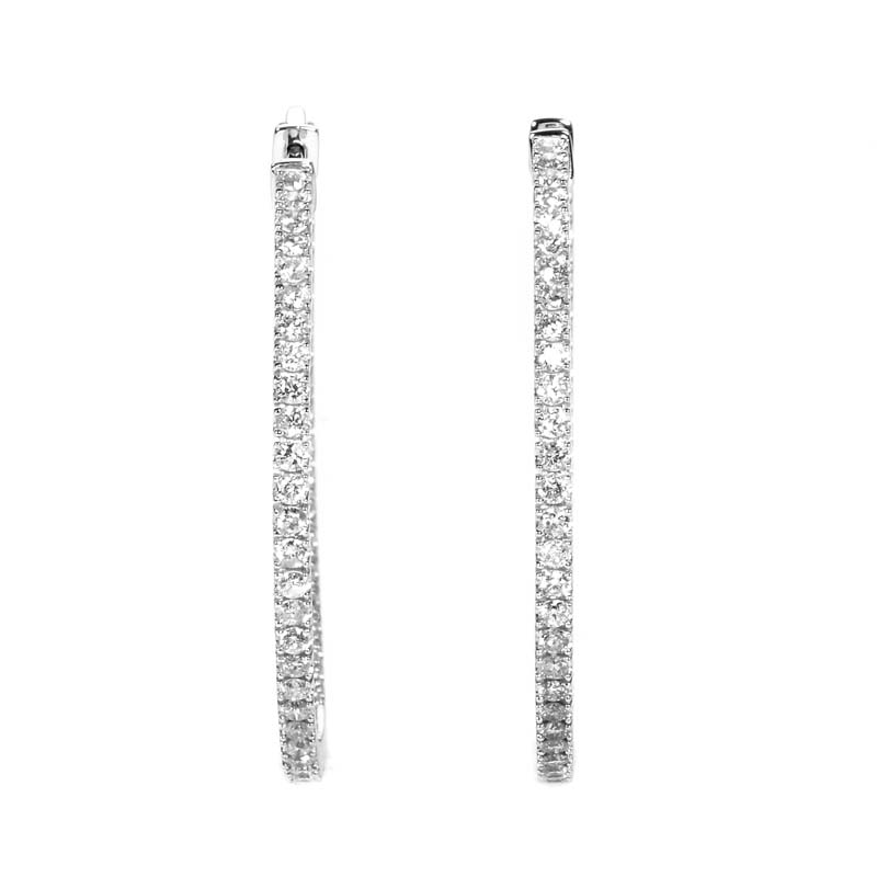 14K White Gold Diamond Hoop Earrings AER-9836W