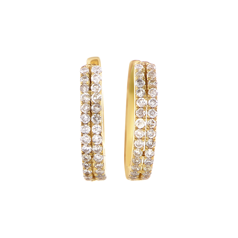 14K Yellow Gold Diamond Hoop Earrings AER-9838Y