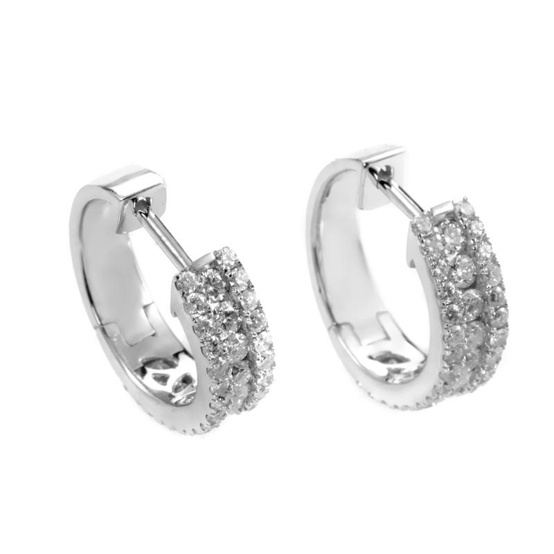 14K White Gold Diamond Huggie Earrings AER-9840W