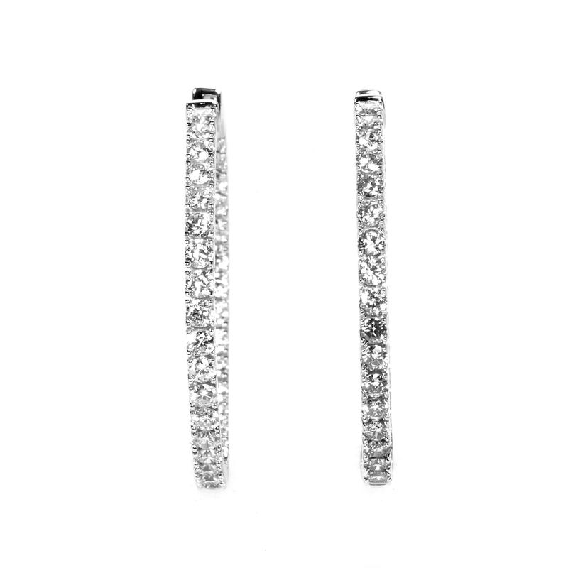 14K White Gold Diamond Hoop Earrings AER-9842W
