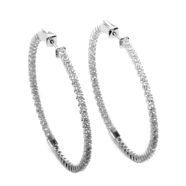 Large 14K White Gold Diamond Hoop Earrings AER-9844W
