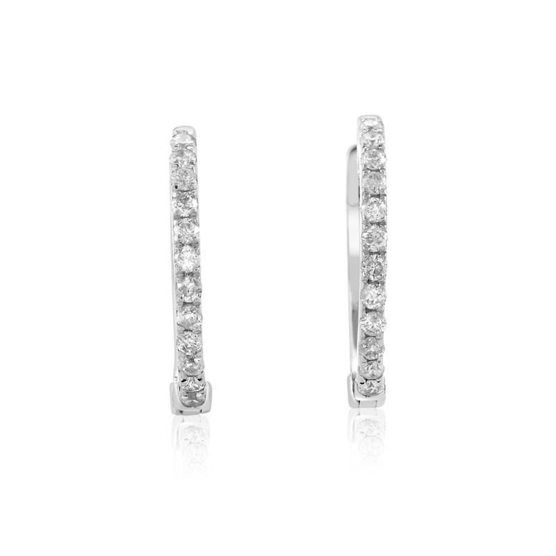 14K White Gold Diamond Hoop Earrings AER-9846W