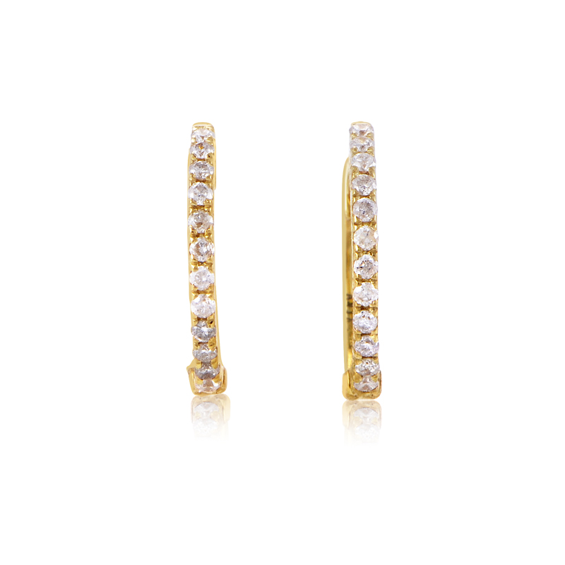 14K Yellow Gold Diamond Hoop Earrings AER-9846Y
