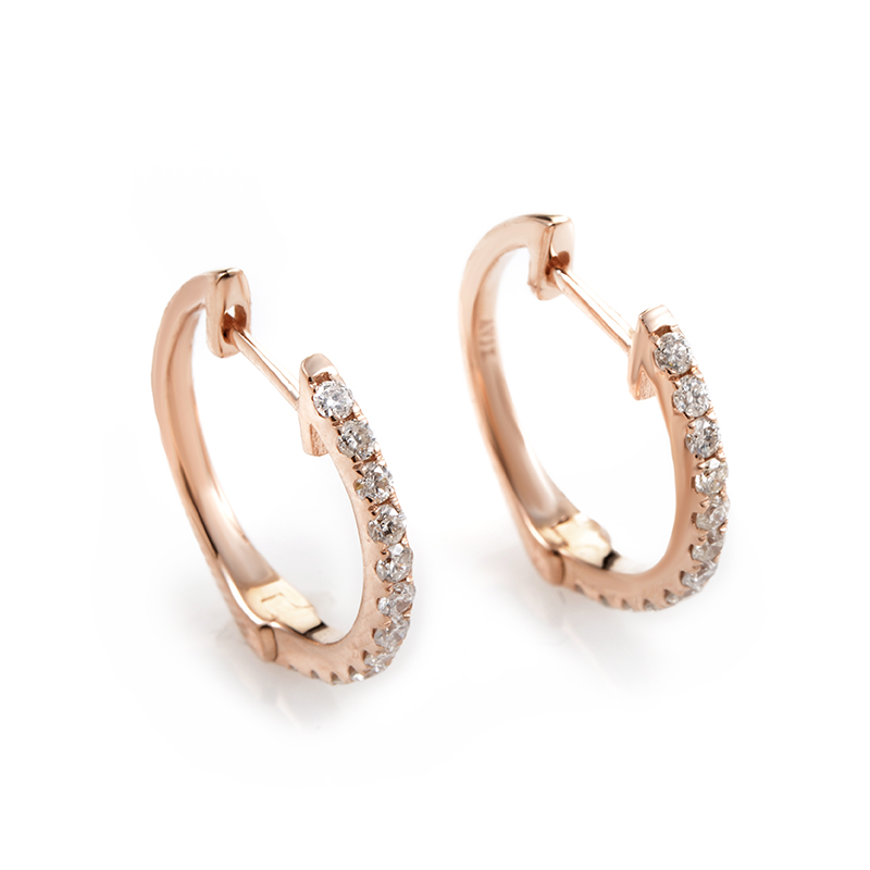 14K Rose Gold Diamond Hoop Earrings AER-9847R