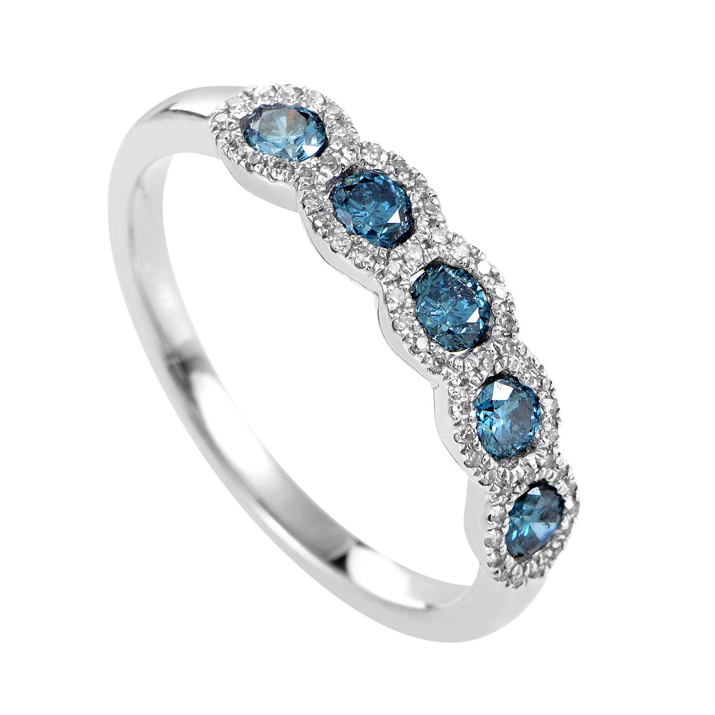 Women's 14K White Gold Blue & White Diamond Band Ring ALR-11359W