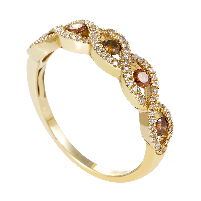 Braided 14K Yellow Gold Blrown & White Diamond Band Ring ALR-11932YBRAID