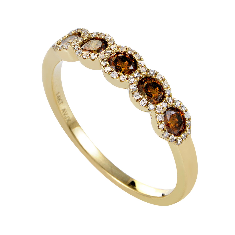 Women's 14K Yellow Gold Brown & White Diamond Band Ring ALR-11932Y