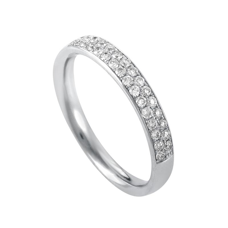 14K White Gold Diamond Band Ring ALR-9856W