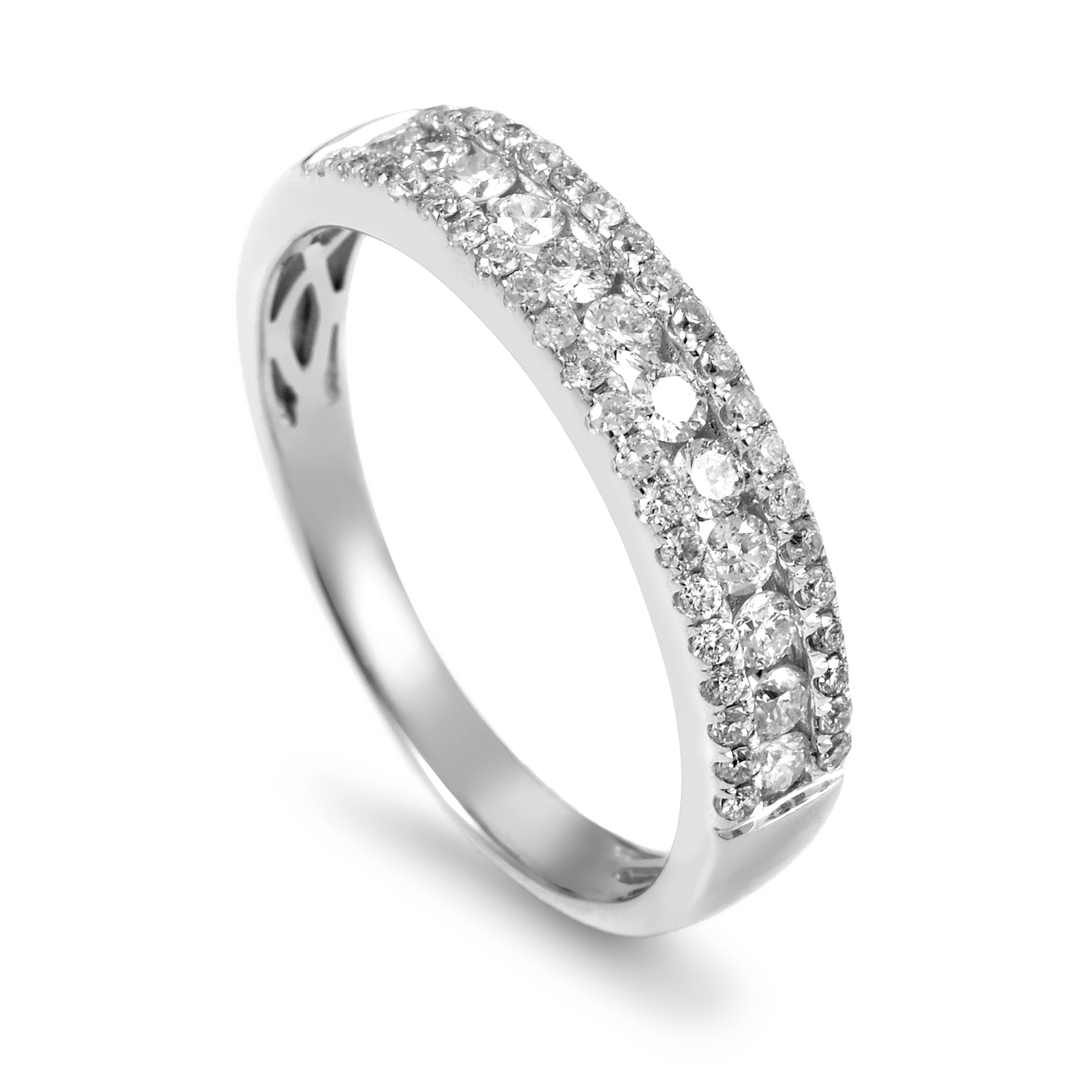 Women's 14K White Gold Diamond Band Ring ALR-9862W