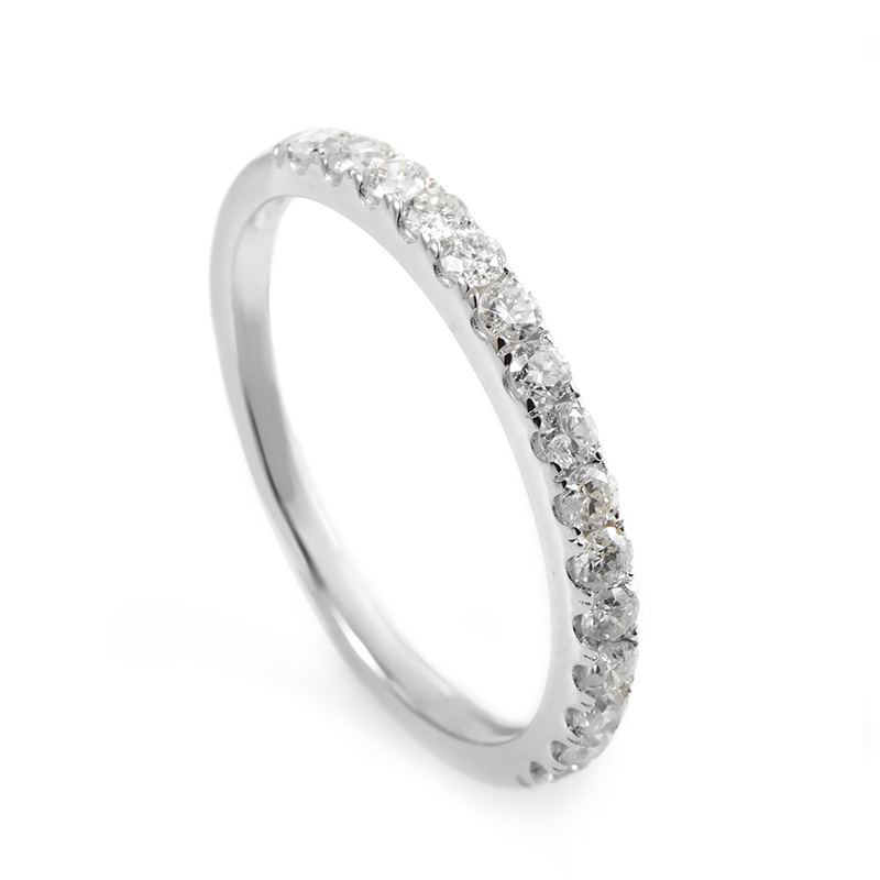 14K White Gold Diamond Wedding Band ALR-9867W