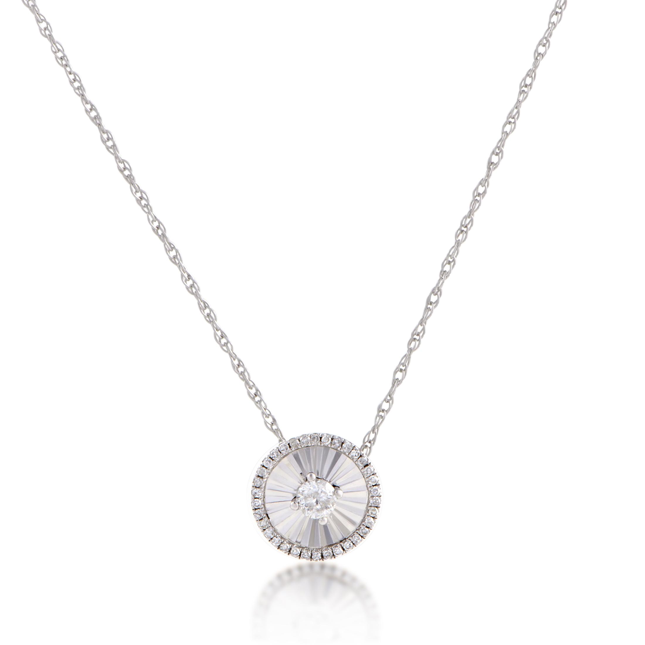 necklaces 14k white gold diamond small round pendant. Black Bedroom Furniture Sets. Home Design Ideas