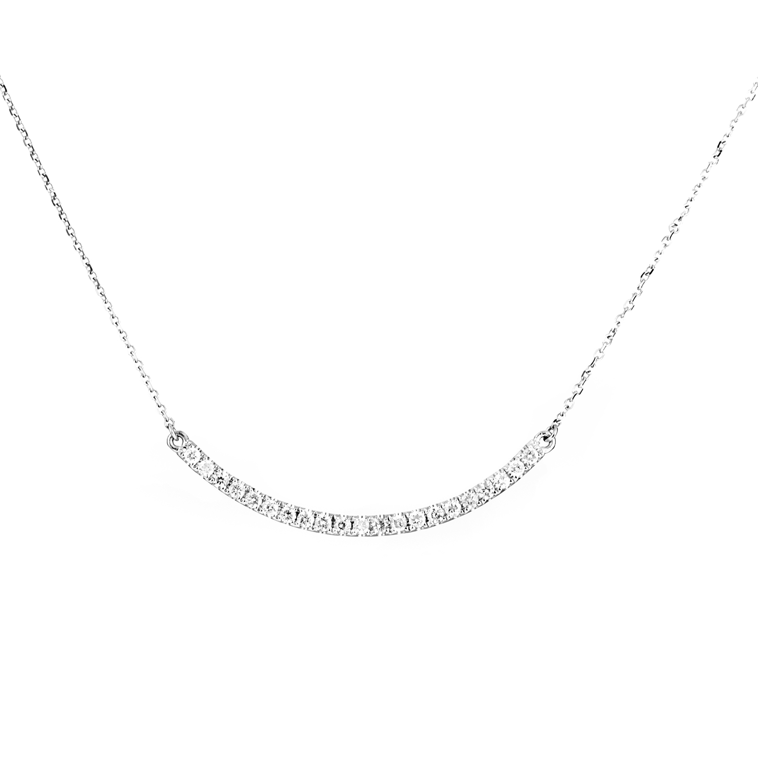 Women's 14K White Gold Curved Diamond Pendant Necklace APD-10016W14K