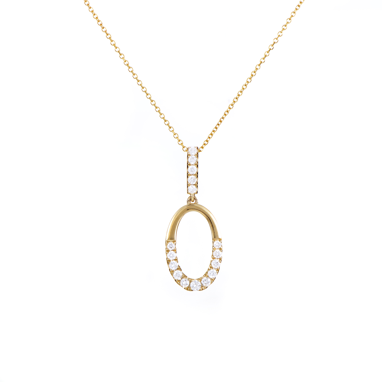 Women's 14K Yellow Gold Diamond Loop Pendant Necklace APD-11042Y14K