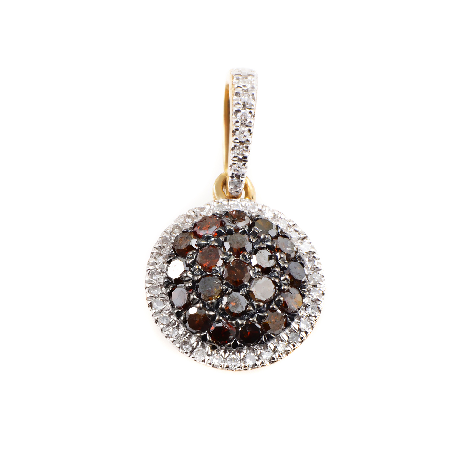 Women's 10K Yellow Gold Brown & White Diamond Pave Pendant APD-12011Y