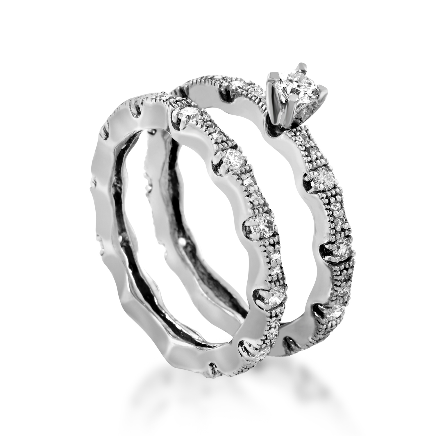 Womens 14K White Gold Diamond Bridal Set BR1006W